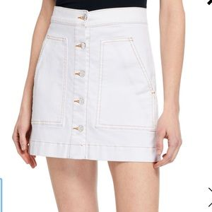 Veronica Beard White Denim Button Down Skirt